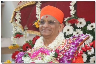 The divine darshan of Acharya Swamishree during the swagat procession, entering the sabha mandap.