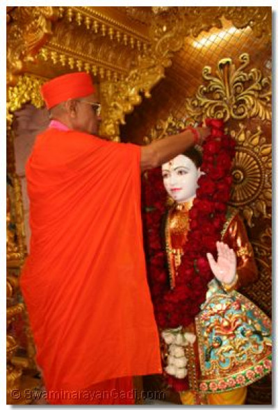 Acharya Swamishree offers a garland of roses to Lord Swaminarayan