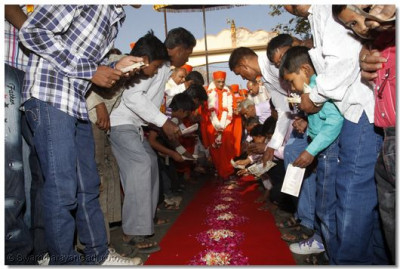 Disciples place donations at Acharya Swamishree's lotus feet