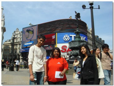 The team in Picadilly Circus