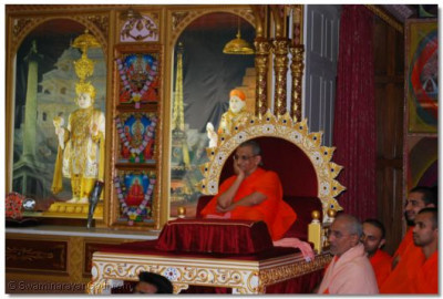 Acharya Swamishree watches the competitions in progress