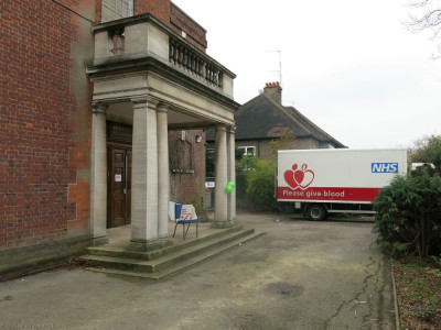 The NHS blood donation lorry outside the blood donation venue at Golders Green Synagogue