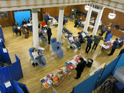 The grand hall has capacity for many to donate blood