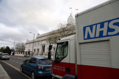 The NHS truck outside Shree Swaminarayan Mandir Kingsbury