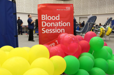 Ballons to indicated % of different blood types collected today