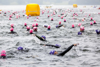 Hundreds of swimmers from around the UK swim the challenge