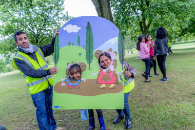 Young disciples and children from the local community raise money for Save the Children by taking part in Peppa Pig's Muddy Puddle walk