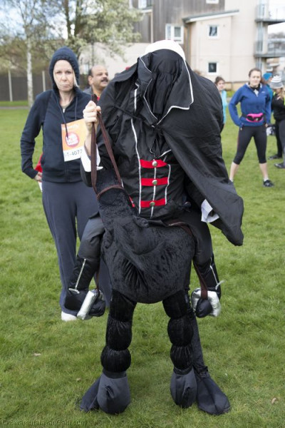 A local resident dresses up and takes part in the Sport Relief 2014 run