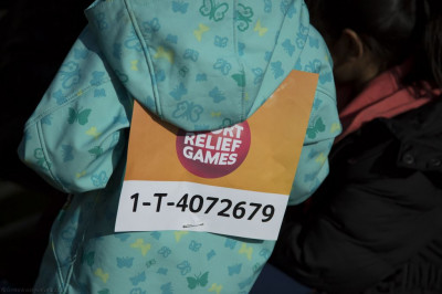 A close up of the official Sport Relief 2014 identification bib for each participant