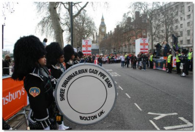 Shree Swaminarayan Gadi Pipe Band at the run start point