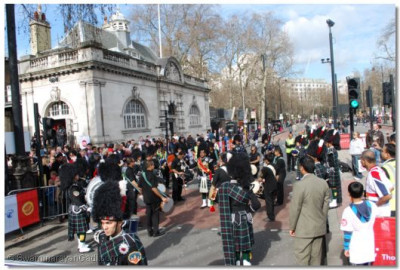 The Band and Dhol perform near Embankment tube station