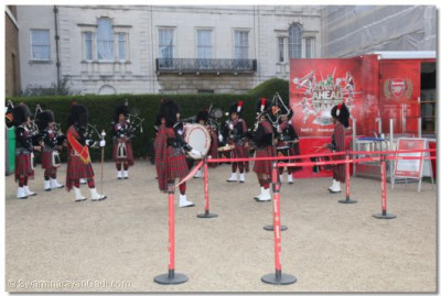 Shree Mukatjeevan Pipe Band warm up before the performance at  Ministry of Defence Admiralty Building Pall Mall