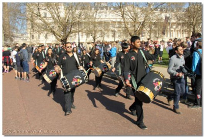 Dhol players in performance