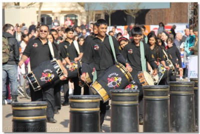 Dhol players in performance at Horse Guards Parade Pall Mall Buckingham Palace