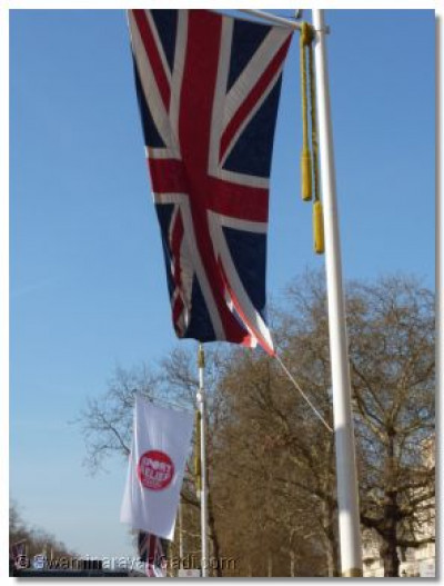 The Union flag and the Sport Relief flag fly side by side