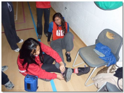 Pratiksha receiving first aid after twisting her ankle in the first game of the day !