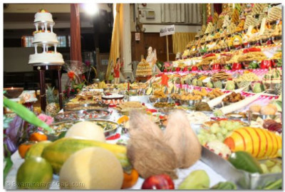 Variety of food items offered to the Lord on Annakut day