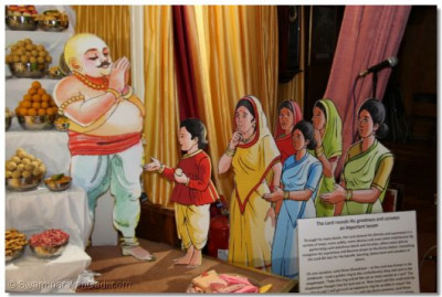 The sweet shop owner prays to the Lord after realising who Lord Ganshyam is after finding that all the sweets which the Lord had eaten had reappeared in the shop