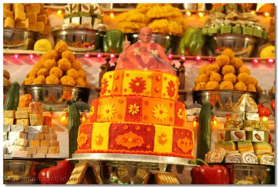 One of the many delicious and beautiful cakes offered to Lord Shree Swaminarayanbapa Swamibapa