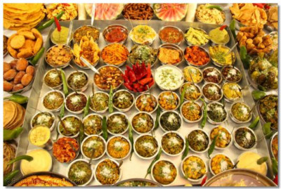 An array of various curried vegetables (shak) offered to Lord Shree Swaminarayanbapa Swamibapa
