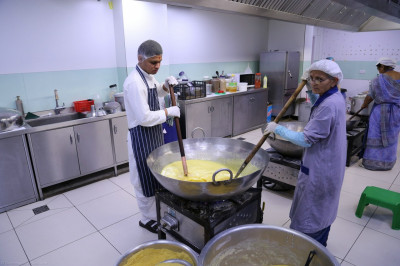 Disciples prepare various sweet and savoury dishes in the new kitchen