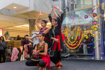 Students of Shree Muktajeevan Swamibapa Dance Academy perform a Bharatnatyam piece as part of the Diwali celebations at Brent Cross