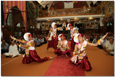 Young disciples perform a dance to the devotional song 'Hari charanama' bringing back sweet memories from Murti pratishta mahotsav in the year 2000 at Shree Swaminarayan Temple London