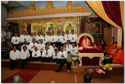 "His Divine Holiness Acharya Swamishree blesses all disciples who took part in the ""Farewell to Golders Green"" devotional song"