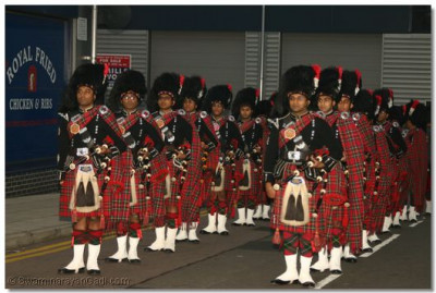 Shree Muktajeevan Pipe Band before the start of the parade in Wembley