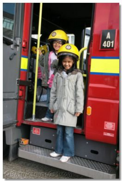 Some children got to play on the fire engine