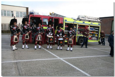 Members of Shree Muktajeevan Pipe Band in performance