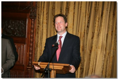 Leader of the Liberal Democrats Nick Clegg gives a speech