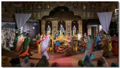 The villagers perform raas in celebration of the manifestation