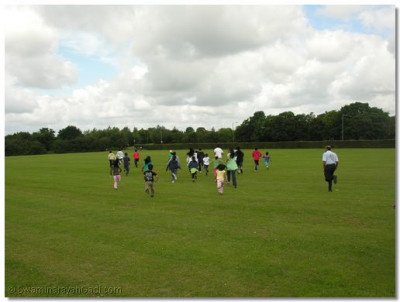 The team races towards the first track and field activity