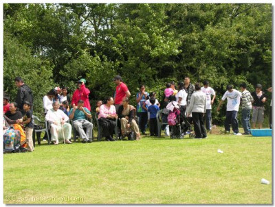 The crowd support the teams taking part in the shibir activities