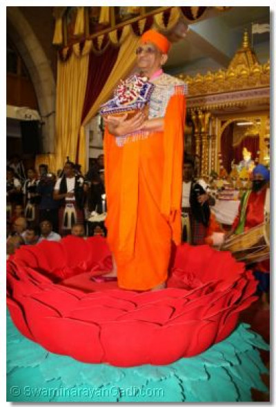 Acharya Swamishree gives His divine darshan from the rose throne
