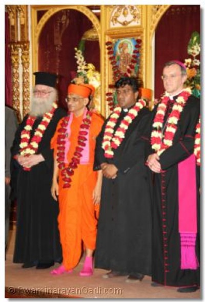 The Emmisary of the Archbishop Gregorios of Thyateira and Great Britain Revd.Deacon Meliton Oakes, His Divine Holiness Acharya Swamishree,and the Emissary of The Archbishop of Canterbury Revd Khan and the Emissary of The Archbishop of the Diocese of Westminster Bishop Arnold stand united in diversity at the end of proceedings
