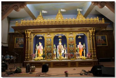 The sinhasan at Shree Swaminarayan Temple London