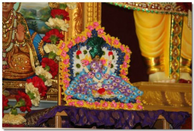 Shree Harikrishna Maharaj gives darshan on the sinhasan