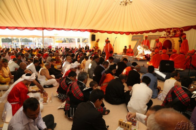 Disciples perform the mahapooja