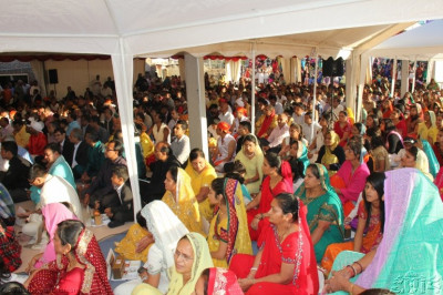 Disciples take part in the mahapooja ceremony