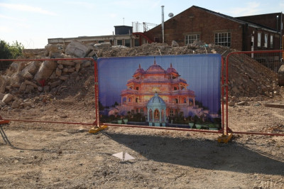 Disciples prepare the site of Shree Muktajeevan Swamibapa Complex for the Shilanyas Ceremony