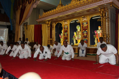 Disciples perform an energetic disciplined Karate drill bringing back memories of the late 80's and early 90's when Karate was taught at Shree Swaminarayan Temple London
