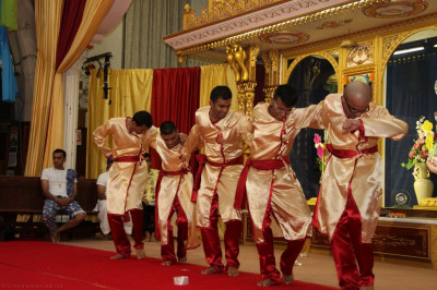 Disciples recreate the devotional dance performed at Lake District, Cumbria on the 30th Anniversary of Jeevanpran Shree Muktajeevan Swamibapa's visit
