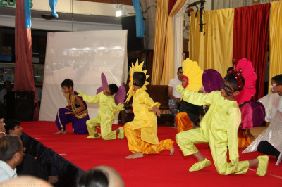 Young disciples dressed as flowers and animals perform a devotional dance reliving the dance that was performed very recently at Shree Swaminarayan Temple London