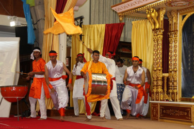 Disciples perform an aspect of the devotional dance that had 370 participants and was performed during the 'Shaliyanyas' foundation stone laying ceremony in at Shree Swaminarayan Temple London at the new Kingsbury site in 2012