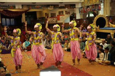 "Disciples perform an energetic dance to the devotional song  ""Happy Birthday to you """