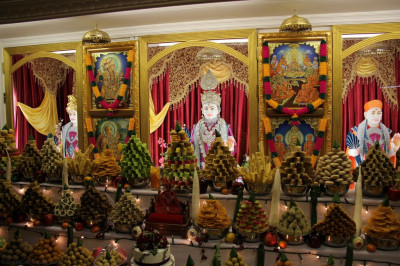 Divine darshan of Lord Shree Swaminarayanbapa Swamibapa dining on the Diwali Annakut