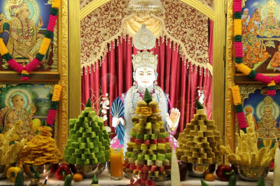 Lord Shree Swaminarayan adorned in diamond studded pink and cyan dress dines on the Annakut