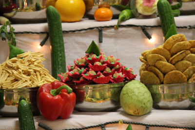A close up of some of the savoury dishes arranged in the Annakut